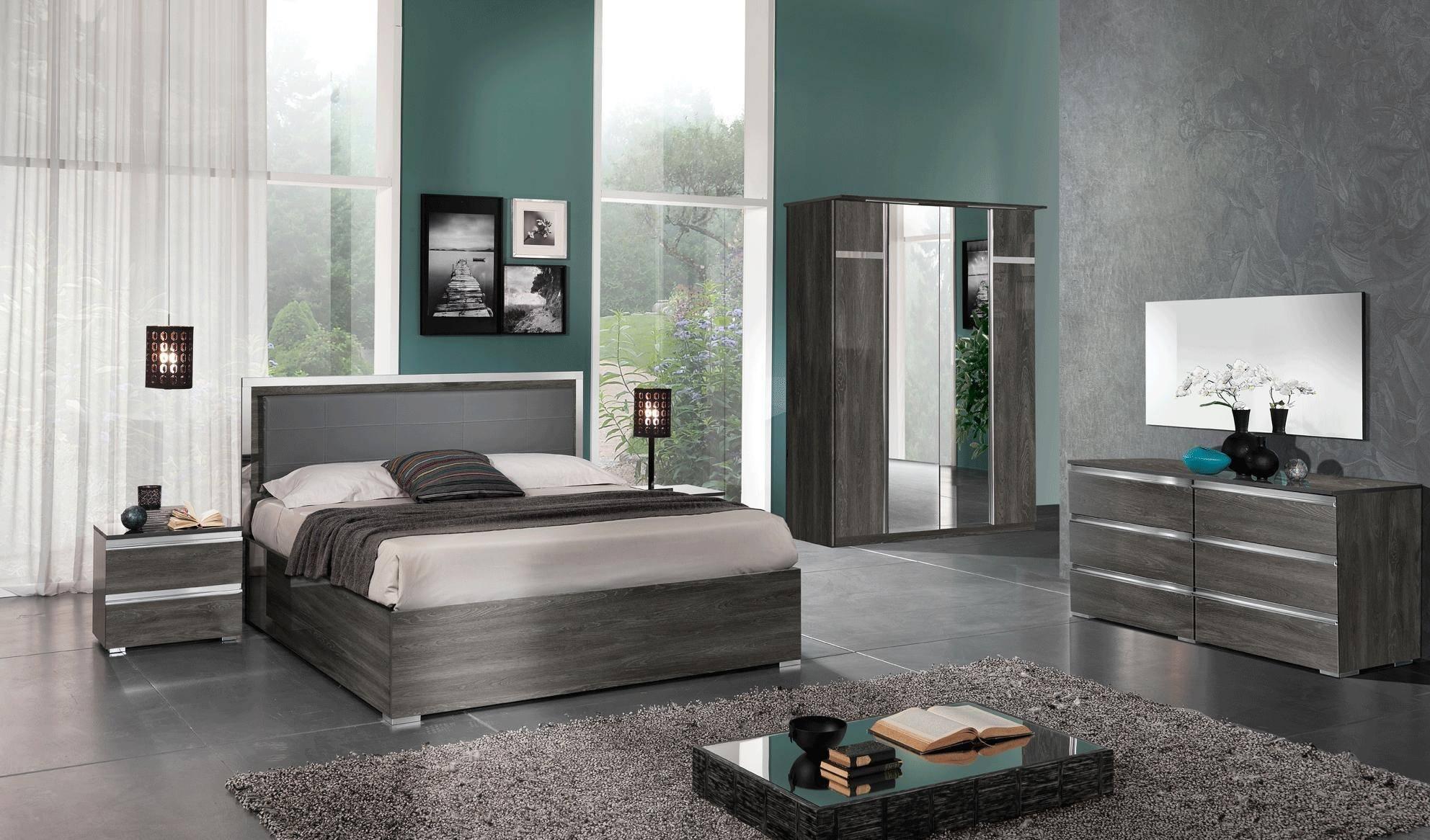 ESF Oxford Queen Platform Bedroom Set 5 Pcs in Gray, Wash Oak, Eco Leather