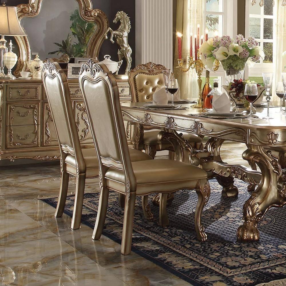 Buy Astoria Grand Pendarvis Dining Table Set 7 Pcs In Gold Bone Polyurethane Online