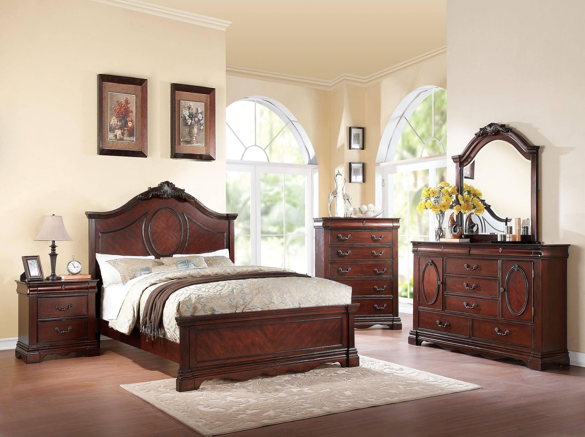 ACME Estrella-20730Q Queen Panel Bedroom Set 5 Pcs in Dark Cherry, Wood,  Wood Veneers