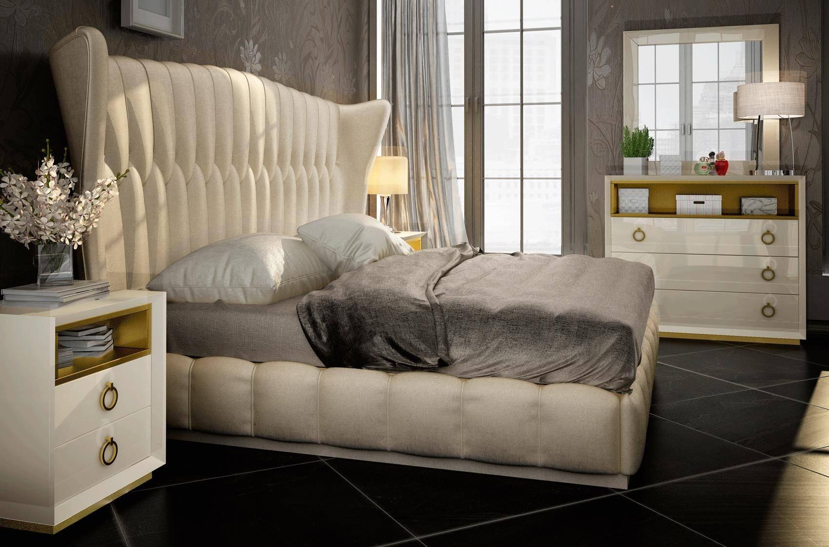 Buy Esf Velvet Queen Platform Bedroom Set 5 Pcs In Gold Sand Cream Eco Leather Online