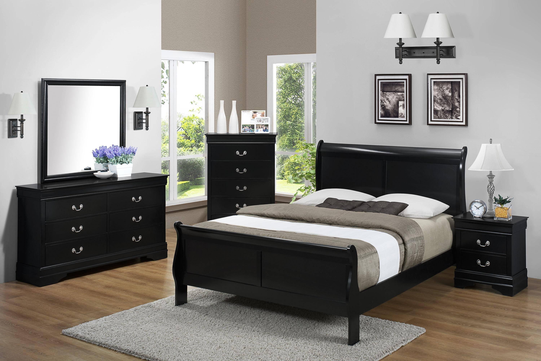 Crown Mark B3600 Louis Philip King Sleigh Bedroom Set 3 Pcs in Black, Wood  Veneers