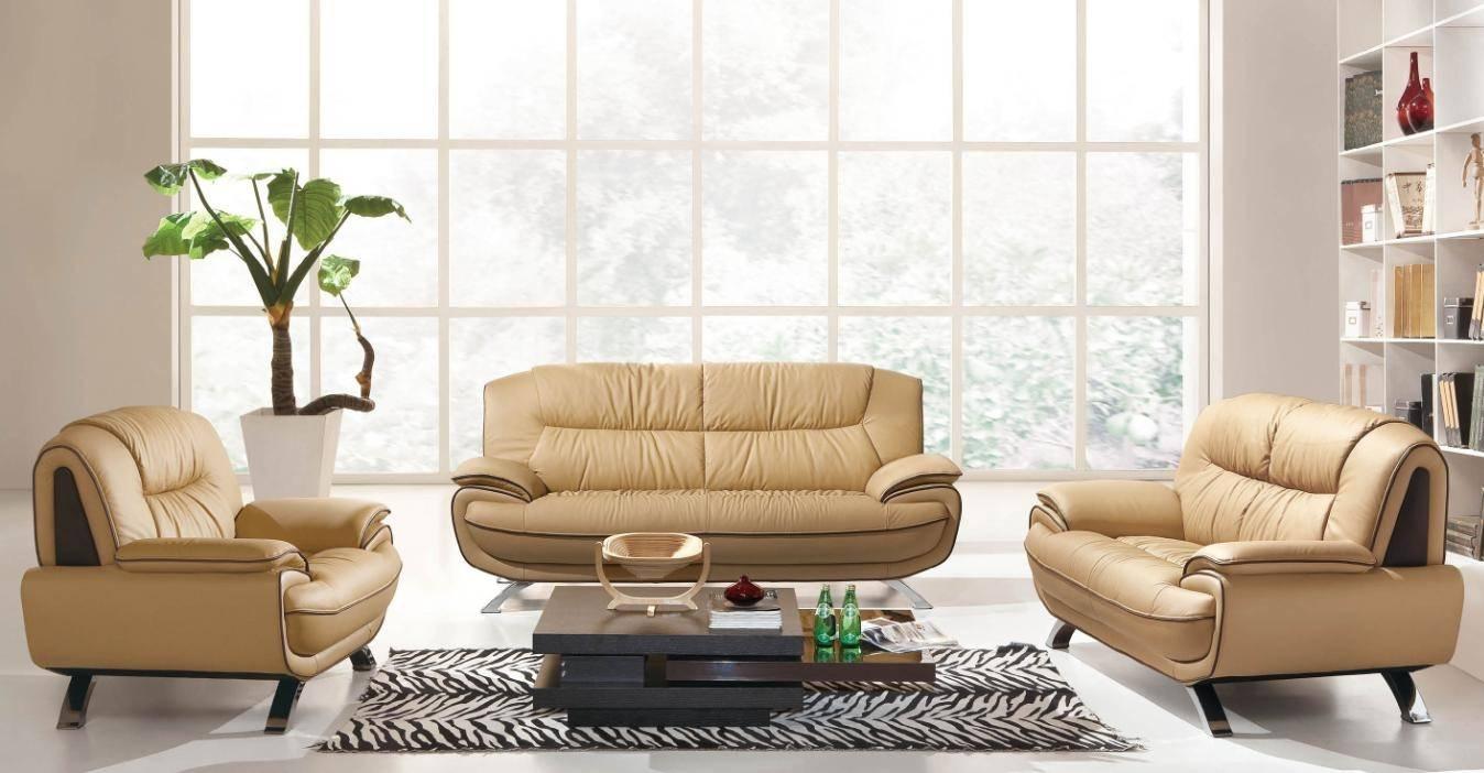 - Buy ESF 405 Sofa Set 3 Pcs In Beige, Genuine Leather Online