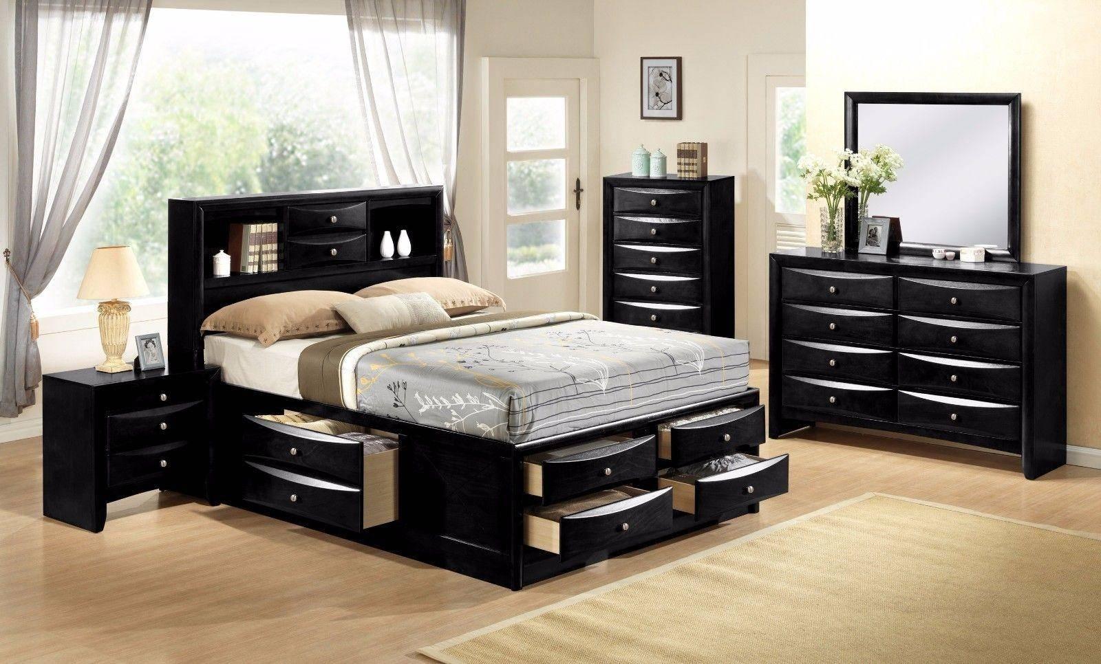 Buy Crown Mark B4285 Emily King Storage Bedroom Set 5 Pcs In Black Faux Leather Online