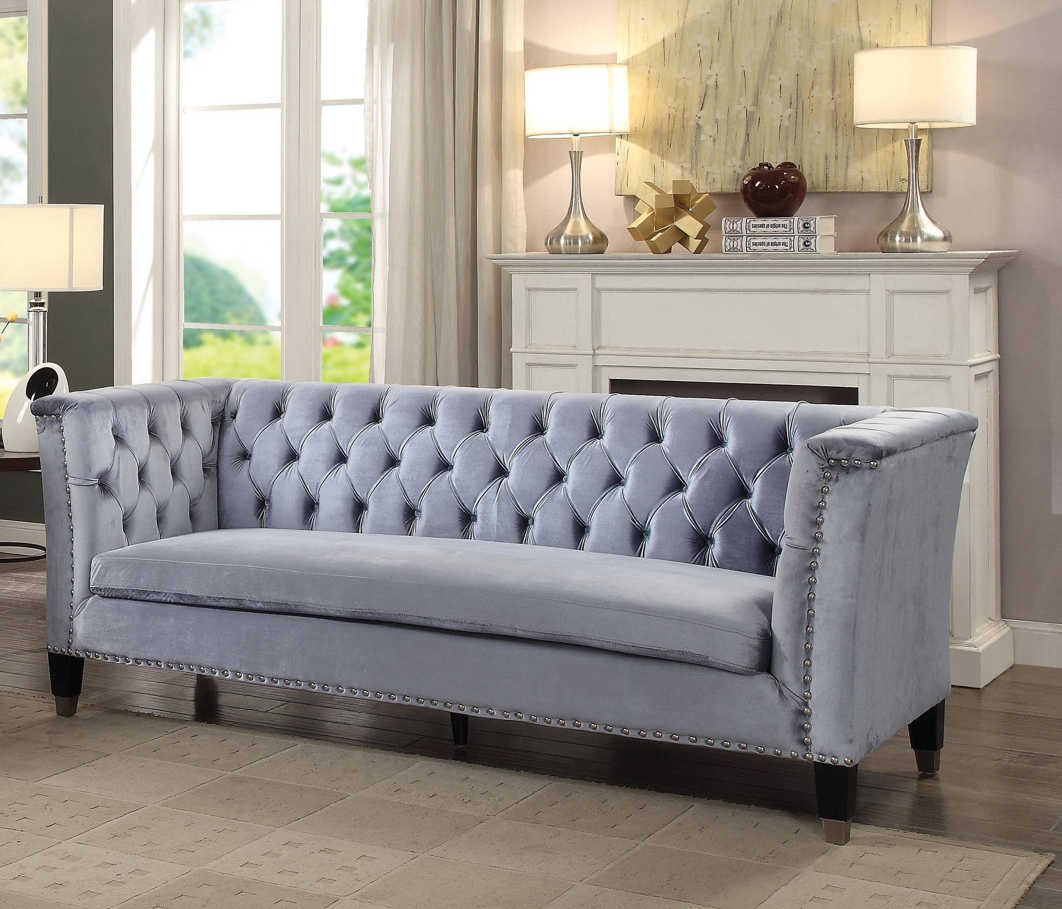 Picture of: Buy Acme Honor 52785 Sofa In Cobalt Blue Velvet Online