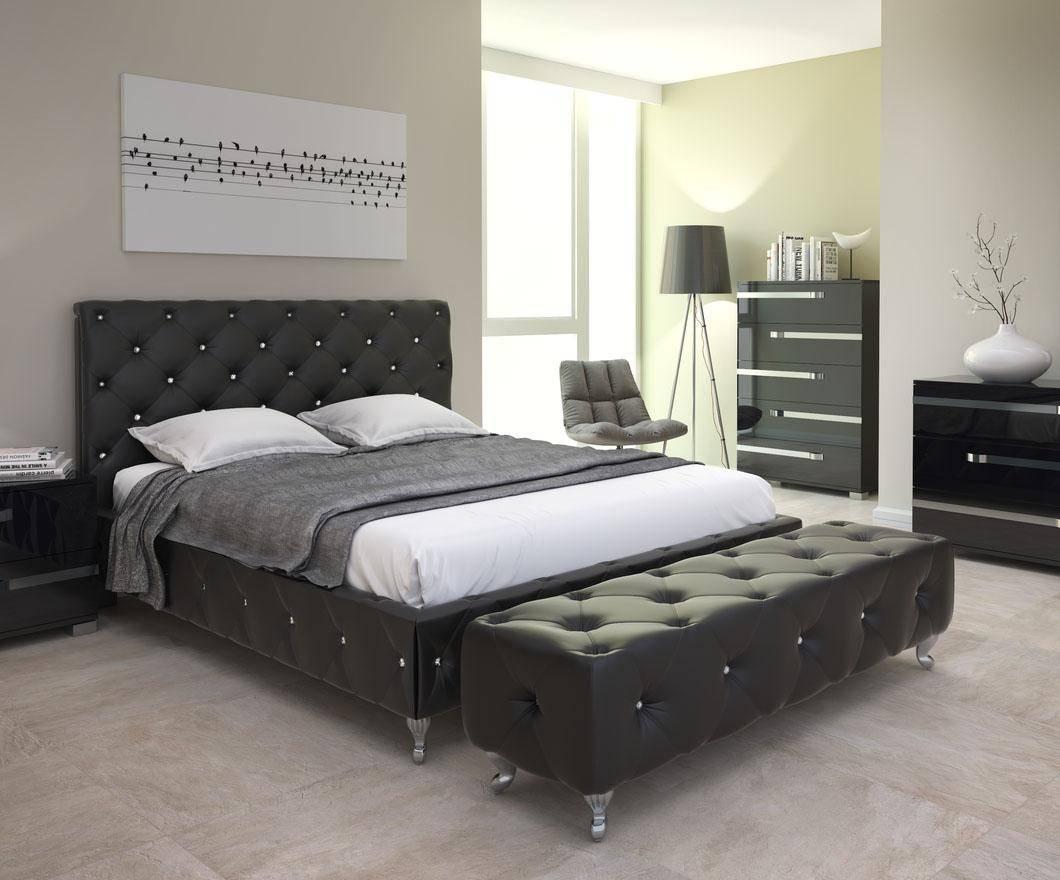 Buy At Home Maria Queen Platform Bedroom Set 2 Pcs In Black Leatherette Online