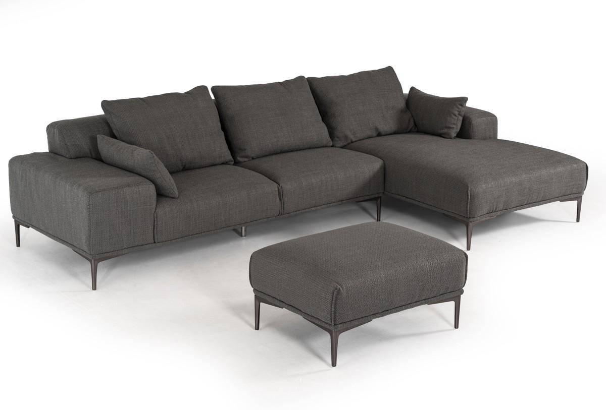 Soflex Cincinnati Sectional Sofa and Ottoman 2 Pcs Right Hand Chase in Dark  Gray, Fabric