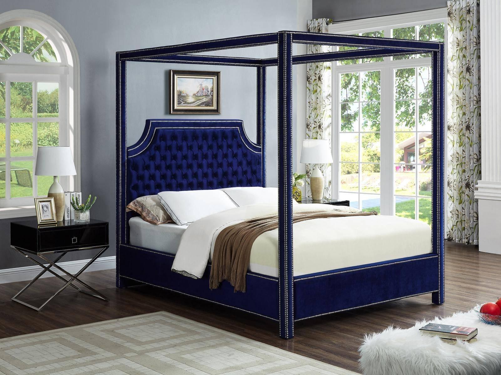 Picture of: Buy Meridian Rowannavy Q 811 Lynn Side Table Queen Canopy Bedroom Set 3 Pcs In Navy Velvet Online