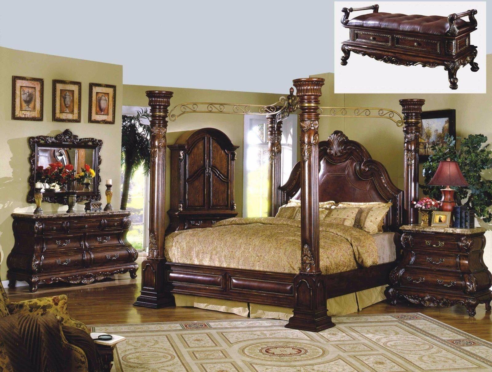 Picture of: Buy Mcferran Monaco King Canopy Bedroom Set 5 Pcs In Cherry Leather Online