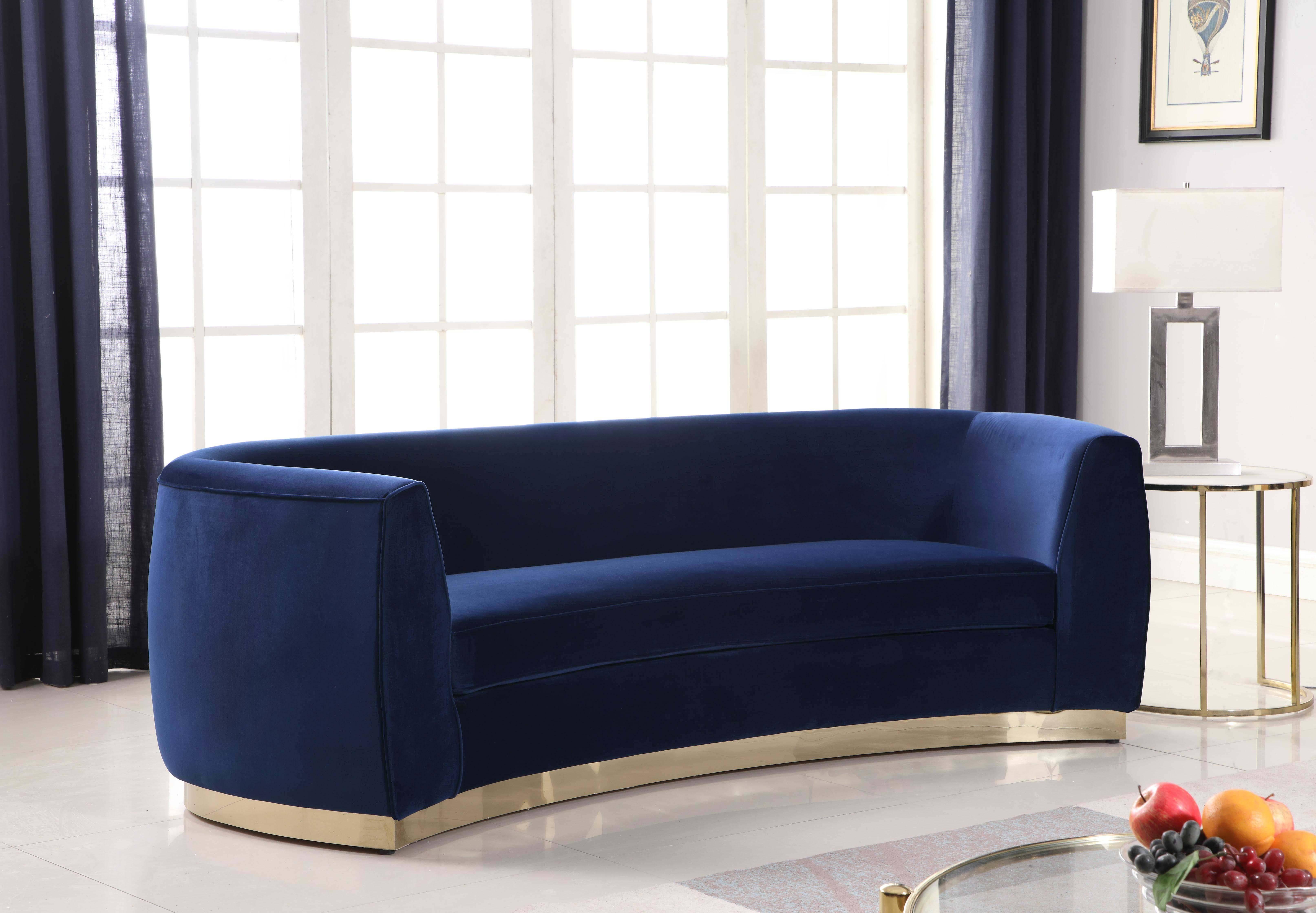 Meridian Julian 620 Sofa Set 3 Pcs in Navy, Soft Velvet