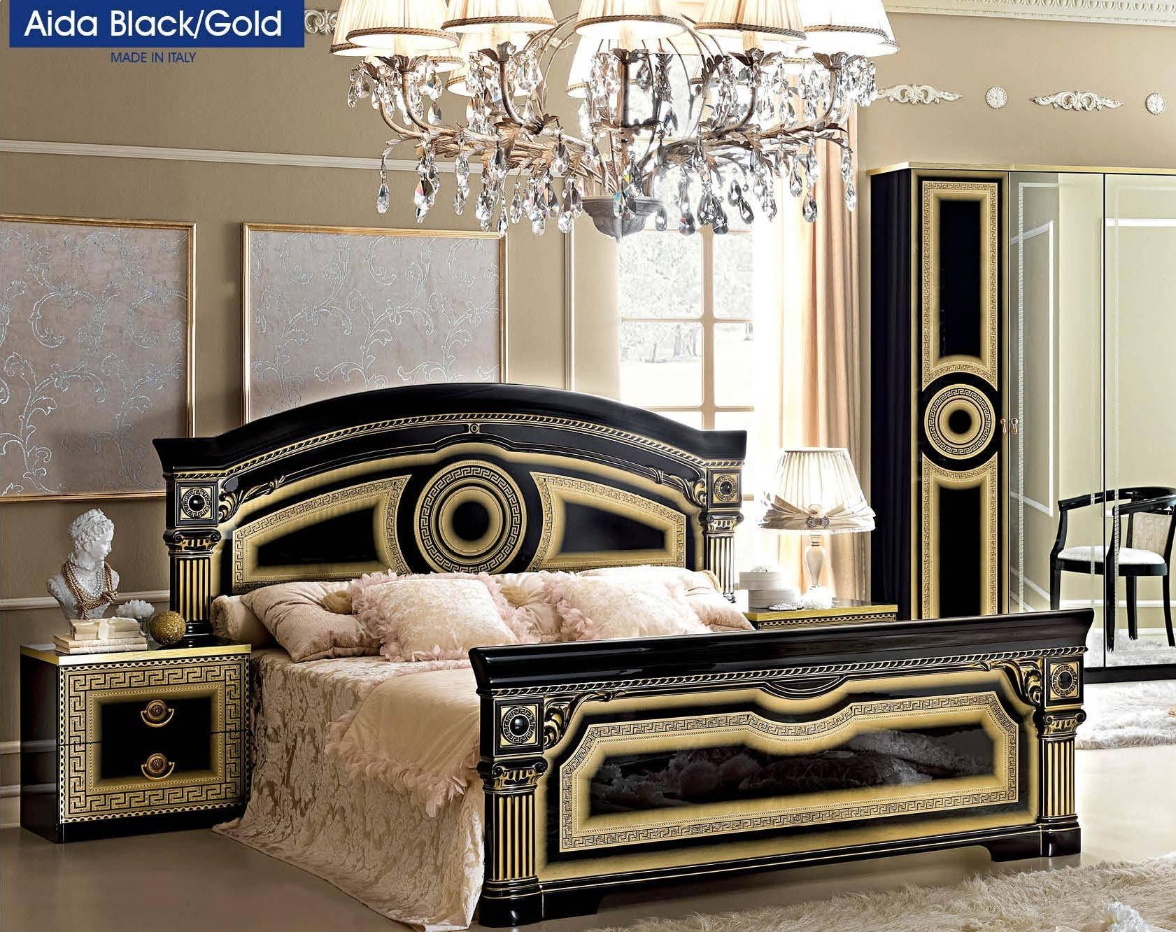 Buy Esf Aida Queen Platform Bedroom Set 2 Pcs In Black Gold Wood Online