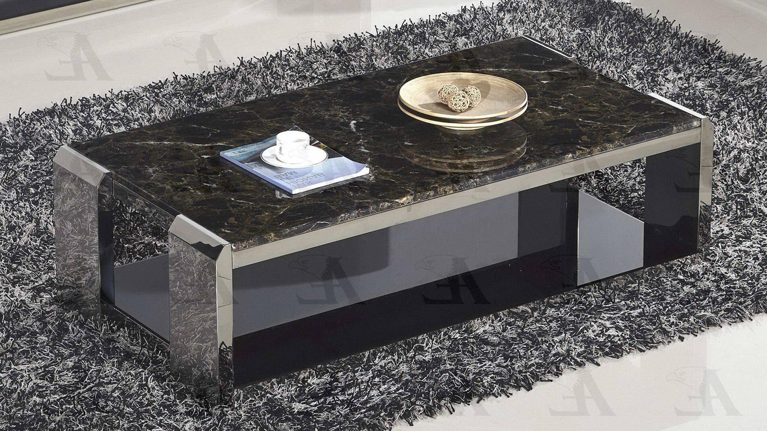 Buy American Eagle Ct C530 Coffee Table In Black Metal Marble Online