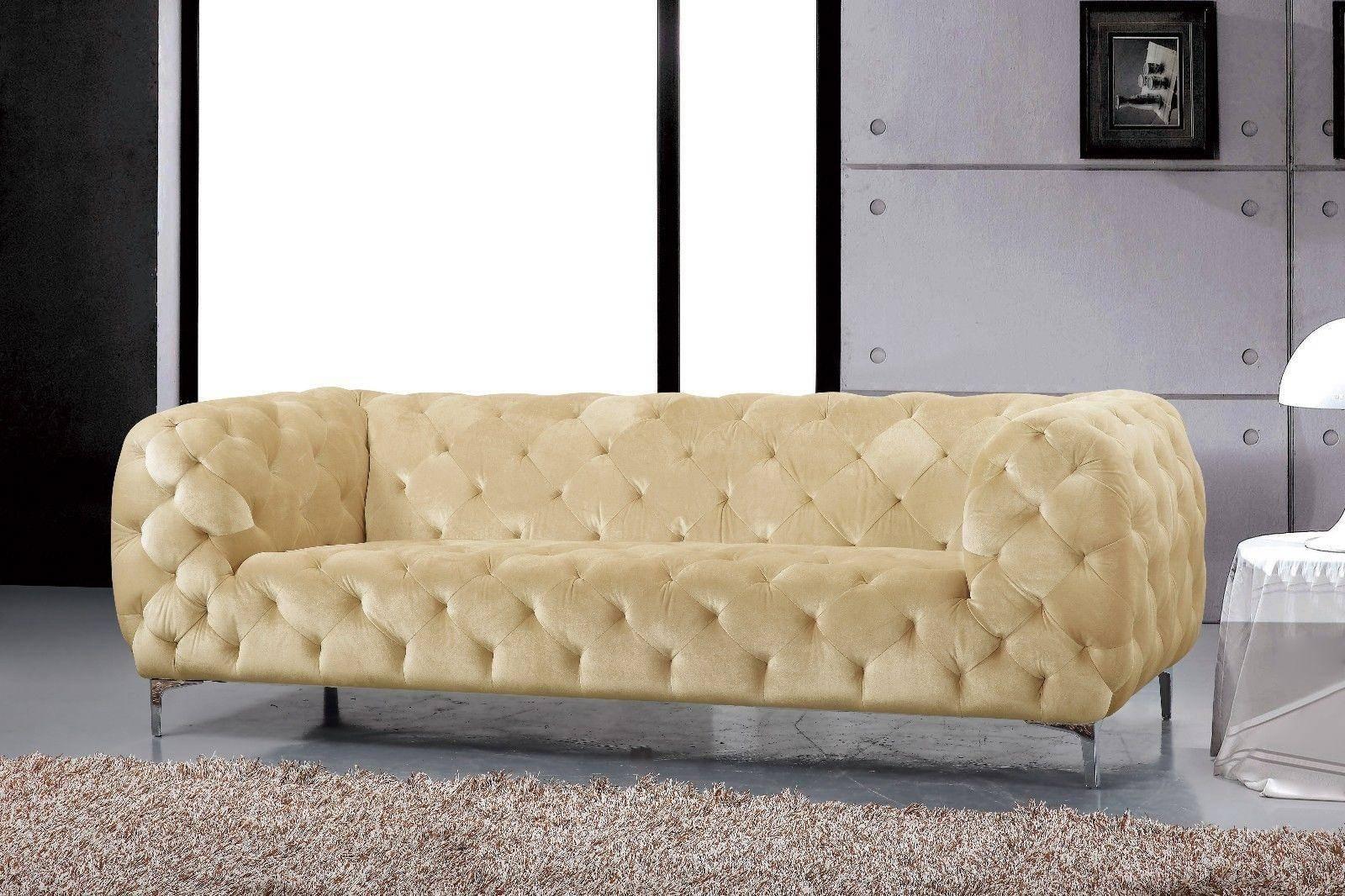 Picture of: Buy Meridian Mercer Sofa Loveseat And Chair Set 3 Pcs In Beige Velvet Online