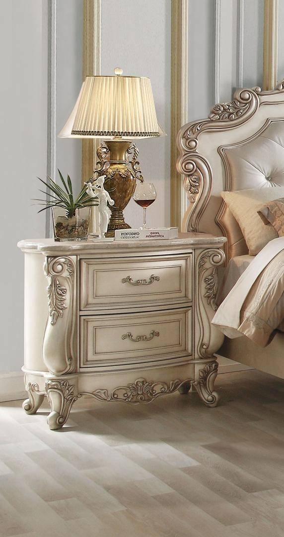 Buy Acme Gorsedd Queen Panel Bedroom Set 3 Pcs In Cream Antique White Fabric Online