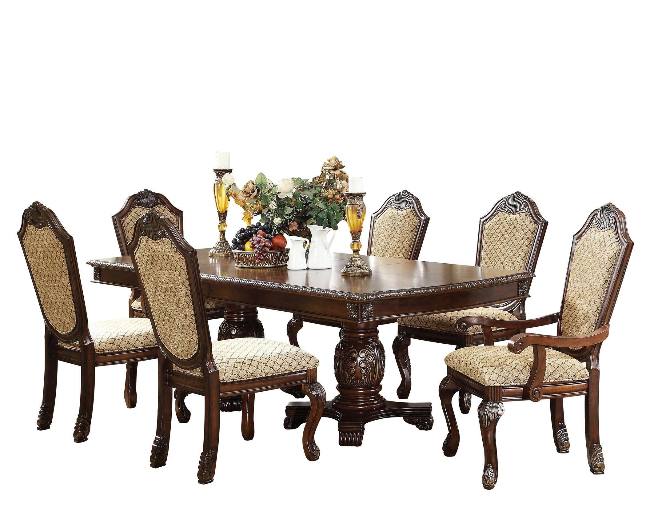 Buy Acme Chateau De Ville 64075 Dining Table Set 7 Pcs In Espresso Chenille Online