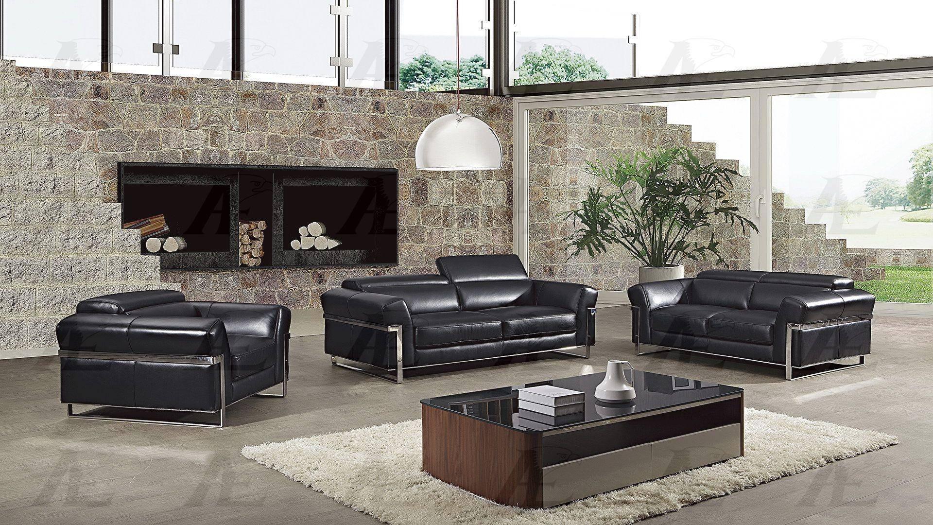 American Eagle EK012-BK Sofa Loveseat and Chair Set 3 Pcs in Black, Italian  Leather