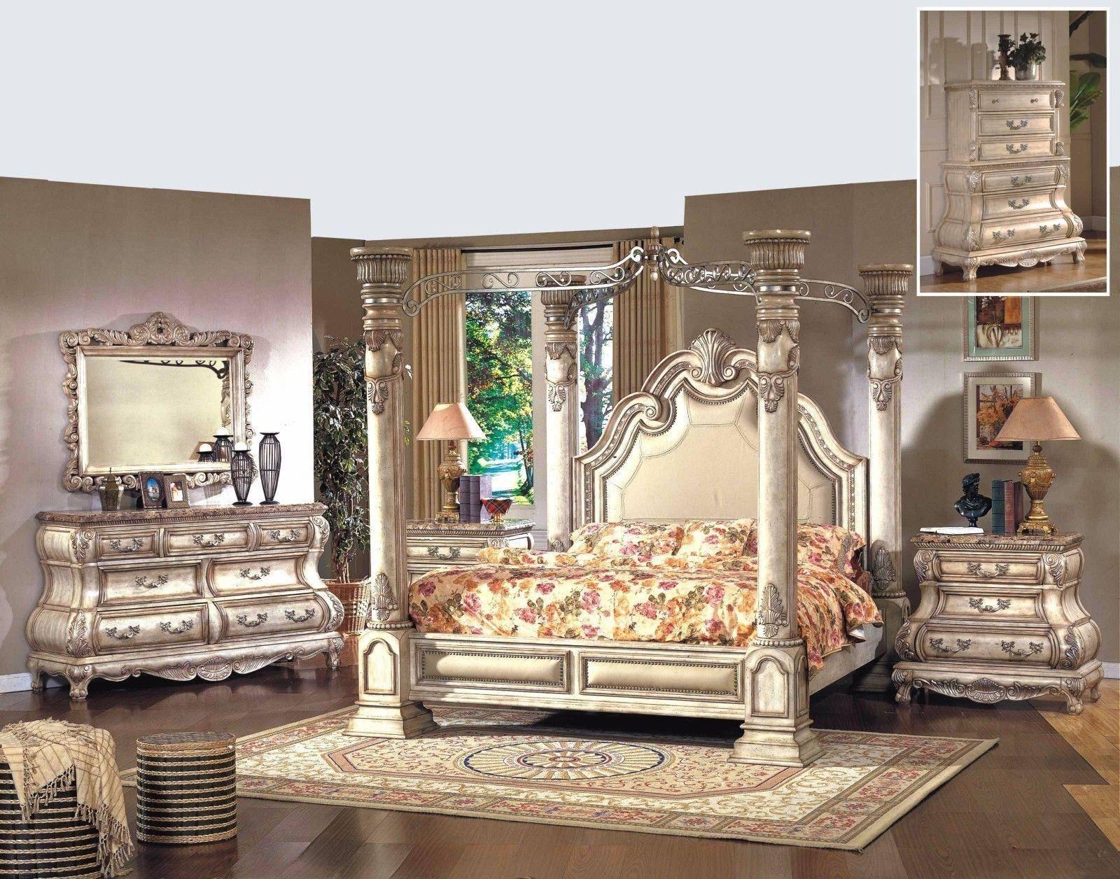 Buy Mcferran Monaco King Canopy Bedroom Set 5 Pcs In White Leather Online