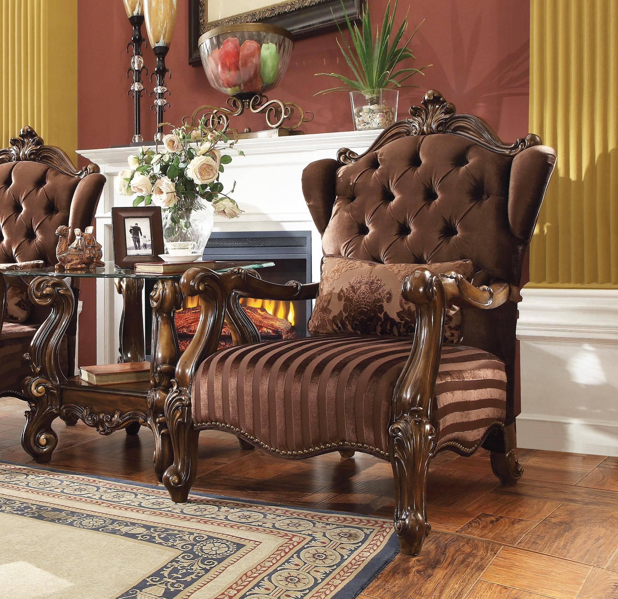 Acme Versailles 52082 Accent Chair 2 Pcs In Brown Cherry Oak Soft Velvet