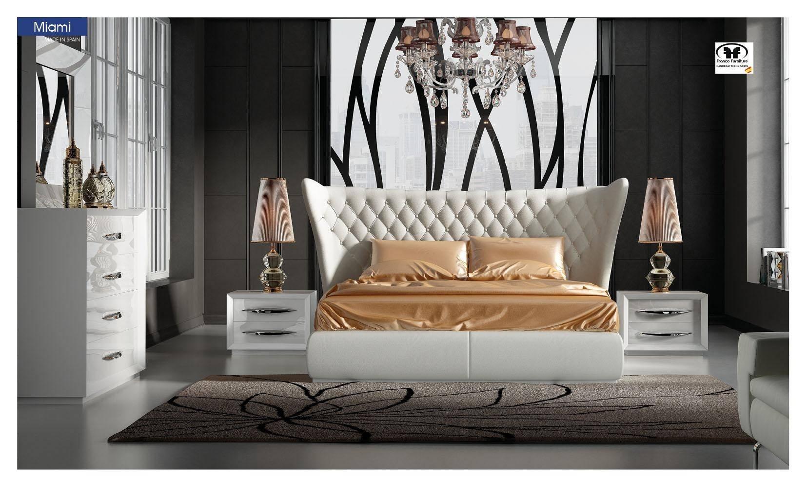 Buy Esf Miami Carmen King Platform Bedroom Set 5 Pcs In White Eco