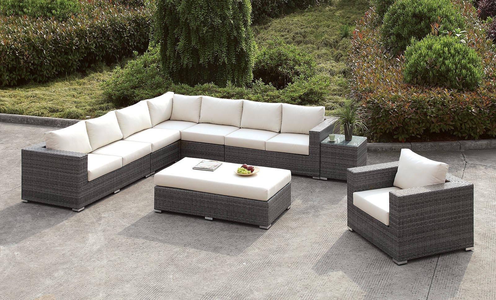 Furniture of America Somani Outdoor Sectional Sofa Set 8 Pcs in Ivory,  Aluminium