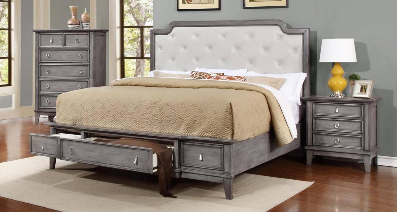 Buy MYCO Anastasia King Storage Bedroom Set 4 Pcs in Gray, Silver ...