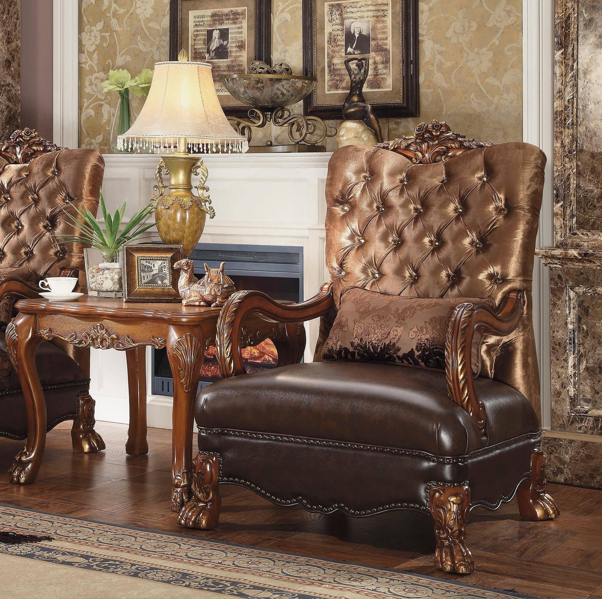 Picture of: Buy Acme Dresden 52097 Accent Chair 2 Pcs In Cherry Golden Brown Oak Velvet Online