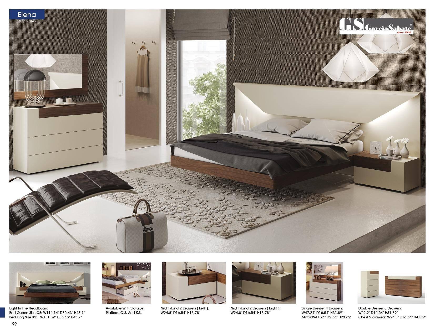Picture of: Buy Esf Elena Queen Platform Bedroom Set 5 Pcs In White Walnut Matte Lacquer Online