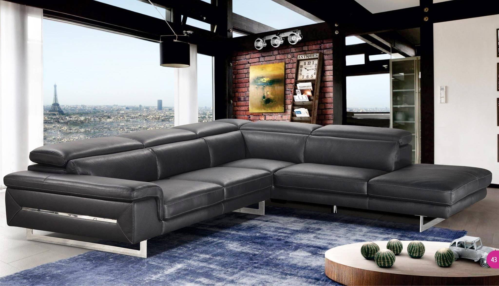 Buy Vig Accenti Italia Lazio Sectional Sofa Left Hand Chase In Black Italian Leather Online