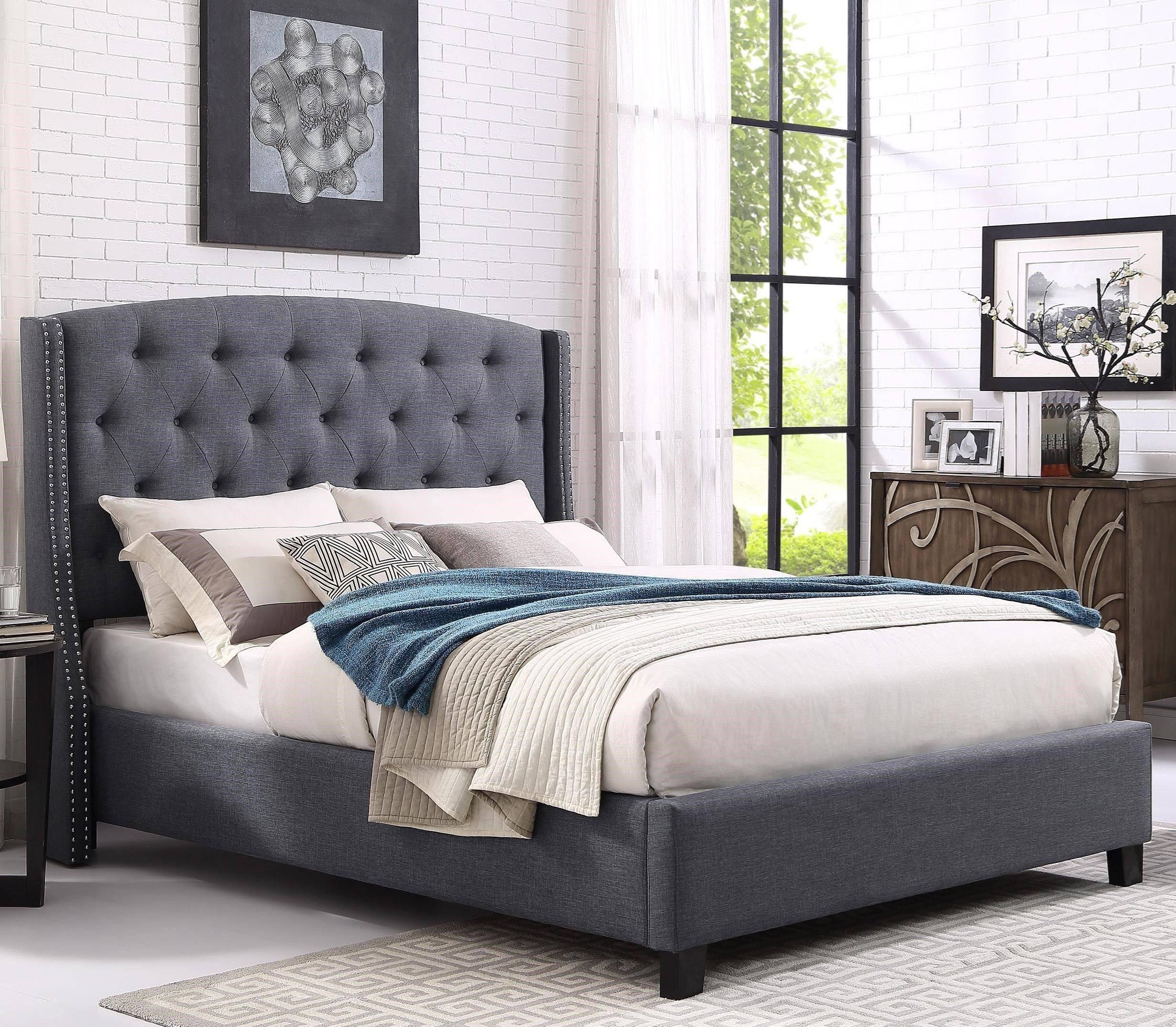 Buy Crown Mark Eva 5111 King Platform Bed In Gray Fabric Online