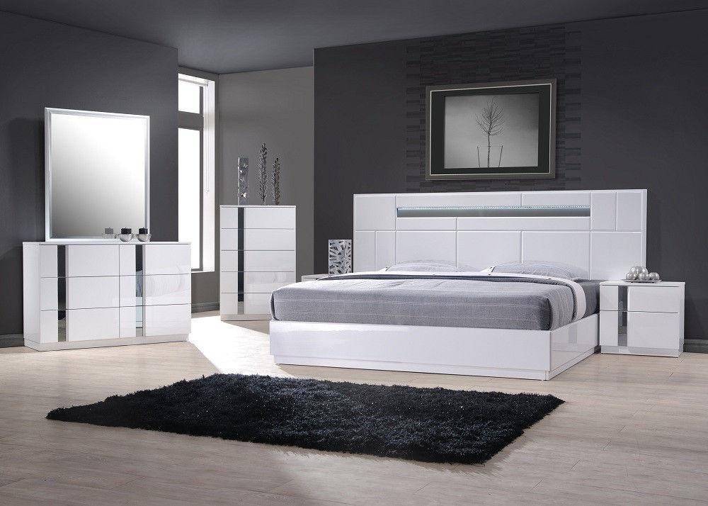 Buy J M Palermo King Platform Bedroom Set 3 Pcs In White Wood Veneers Online