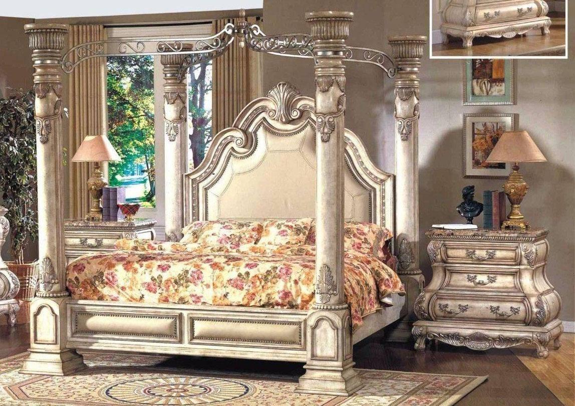 Buy Mcferran Monaco Queen Canopy Bedroom Set 3 Pcs In White Leather Online