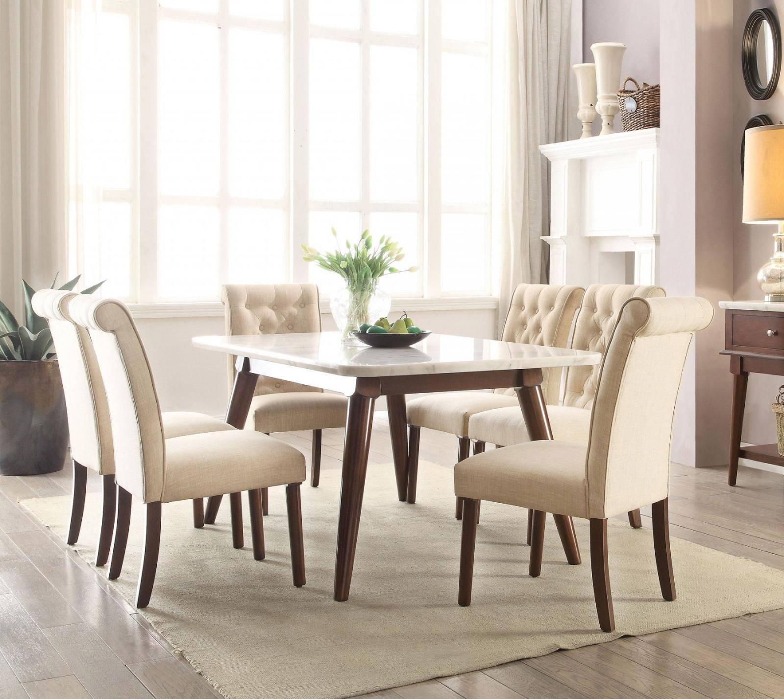 Buy ACME Gasha 72820 Dining Table Set 7 Pcs in White, Walnut, Linen online