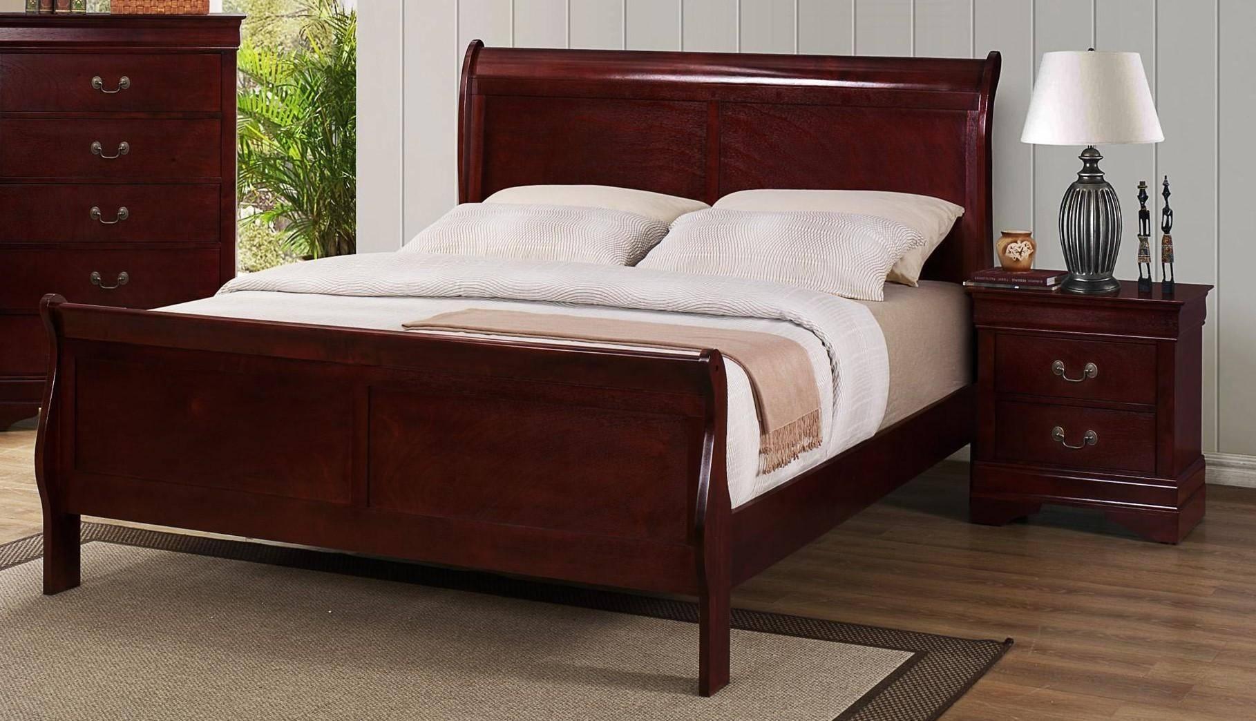 Buy Crown Mark B3600 Louis Philip King Sleigh Bedroom Set 5 Pcs In Cherry Wood Veneers Online