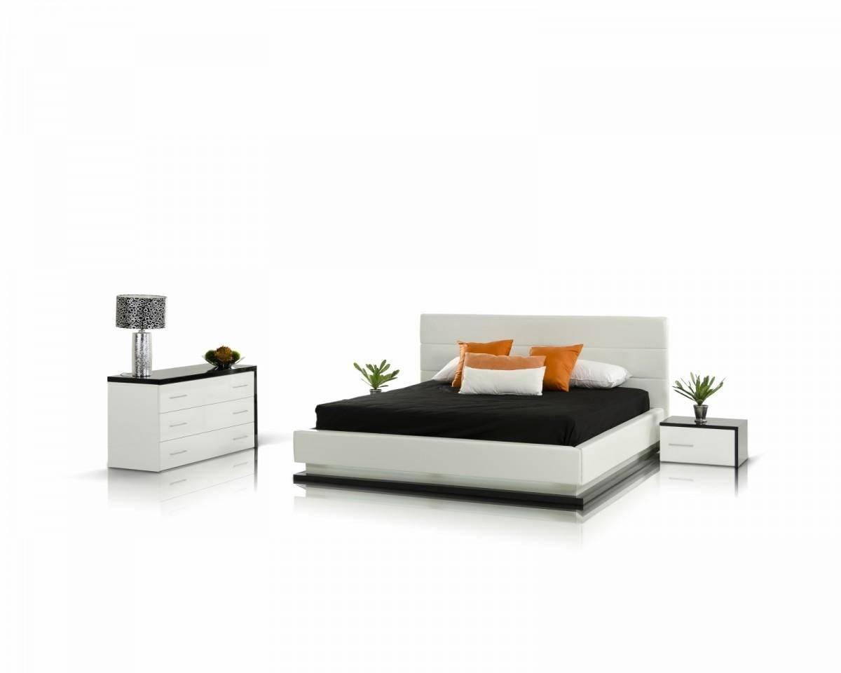VIG Modrest Infinity King Platform Bedroom Set 5 Pcs in Black, White,  Leather Match