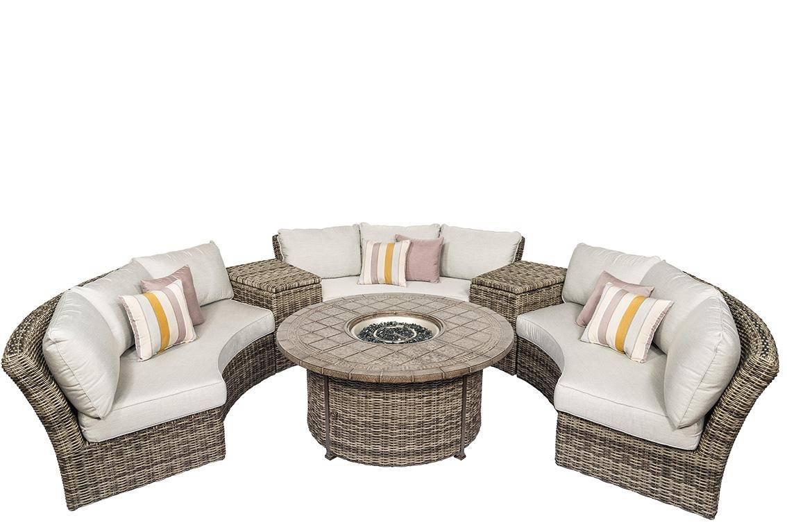 Image of: Buy Calipatio Athena Patio Curved Circular Sofa Set 6 Pcs In Natural Grey Wicker Online