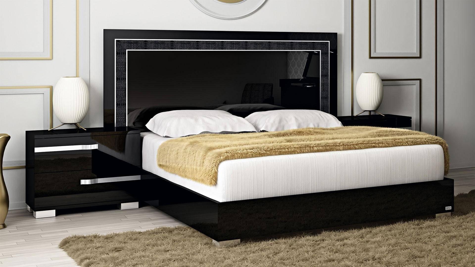 Buy At Home Volare King Platform Bedroom Set 3 Pcs In Black Wood Wood Veneers Solid Hardwood Online