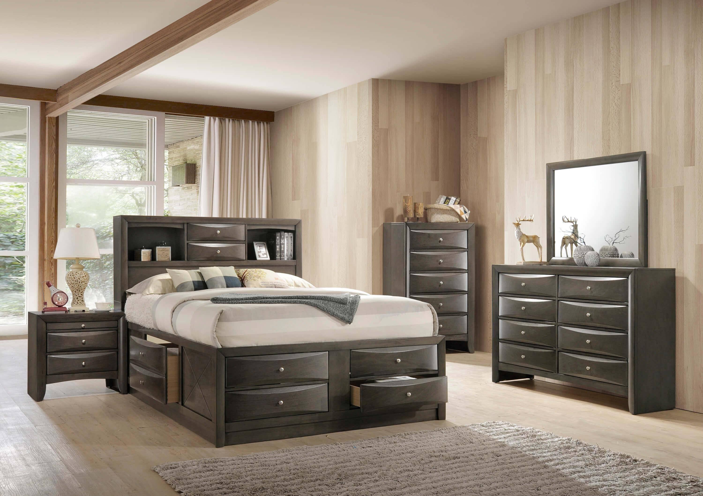 Buy Crown Mark B4275 Emily Queen Storage Bedroom Set 3 Pcs in Gray