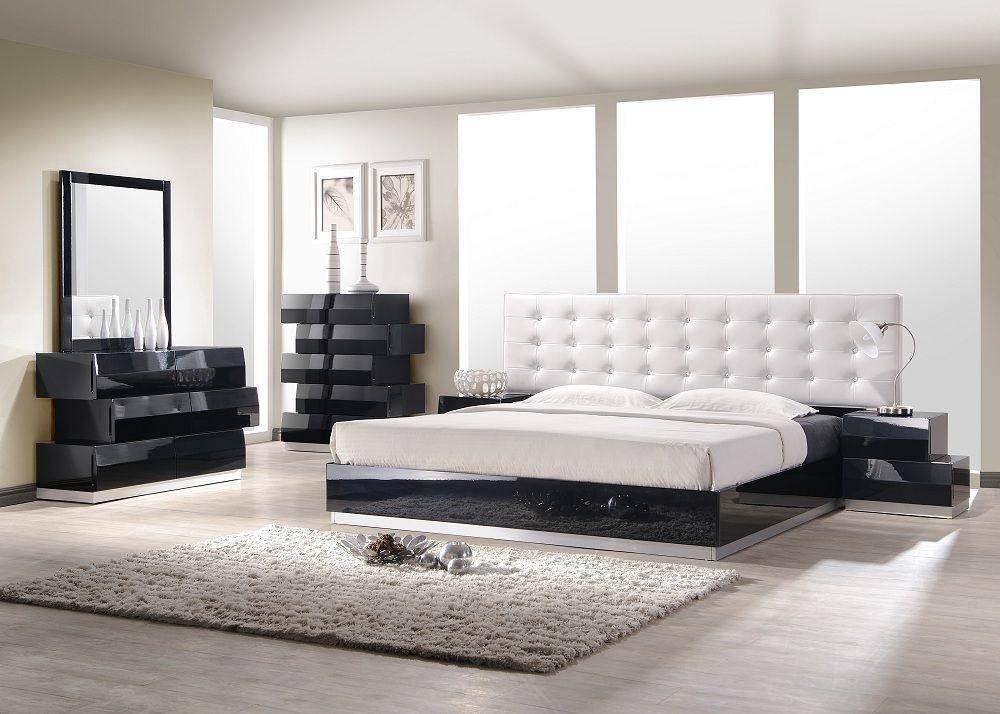J&M Milan King Platform Bedroom Set 3 Pcs in White, Leatherette