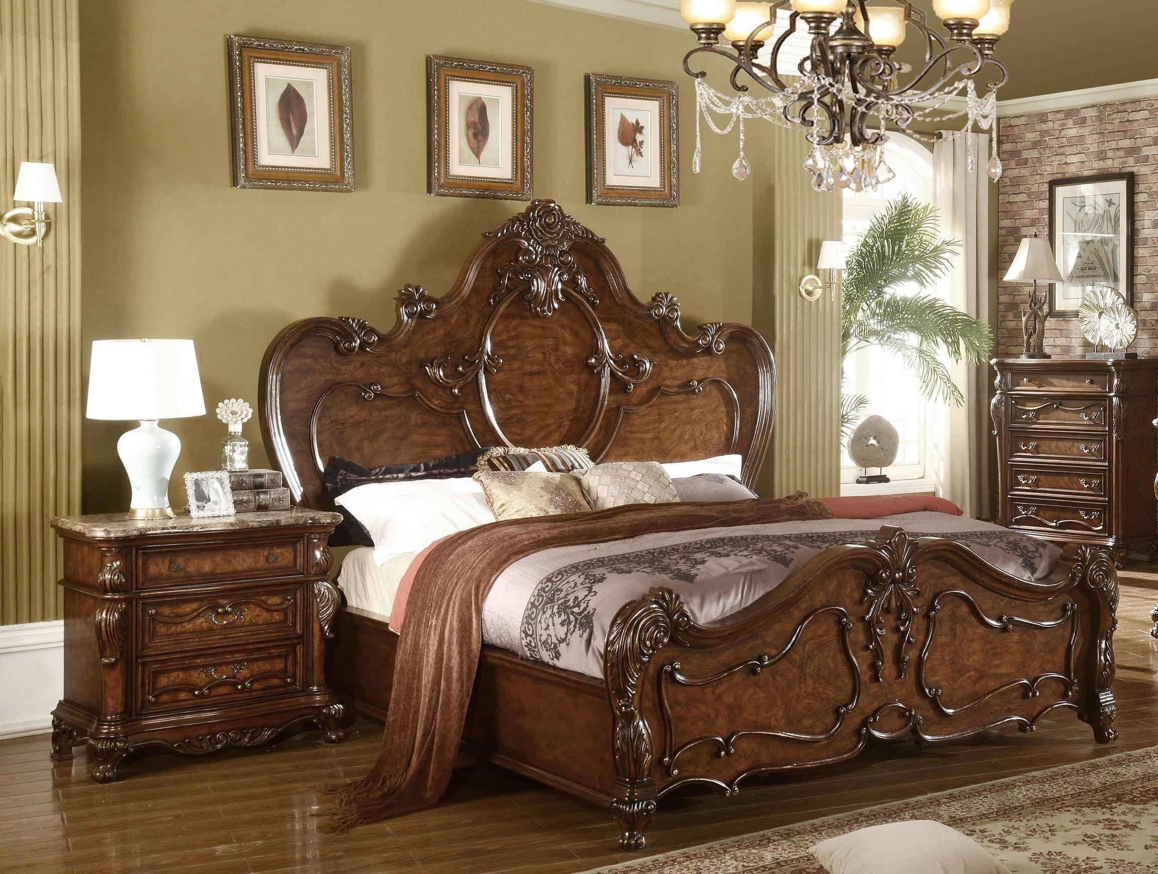 Buy Mcferran B7189 King Panel Bedroom Set 5 Pcs In Cherry Oak Wood Solid Hardwood Online