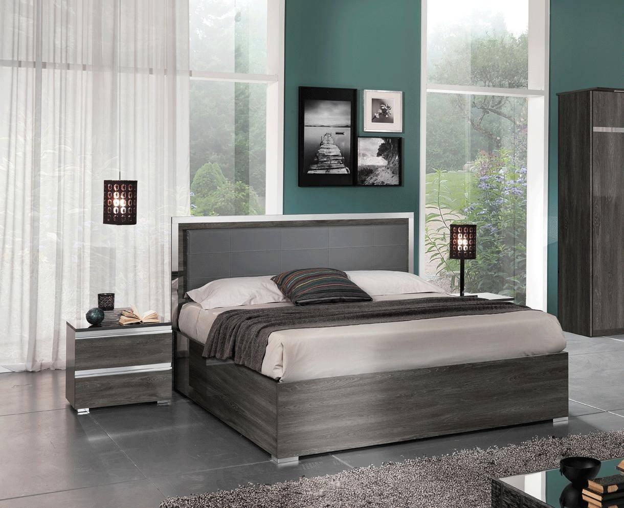 ESF Oxford Queen Platform Bedroom Set 3 Pcs in Gray, Wash Oak, Eco-Leather