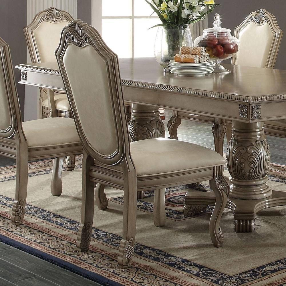 Buy Acme Chateau De Ville 64065 Dining Table Set 7 Pcs In Antique White Chenille Online