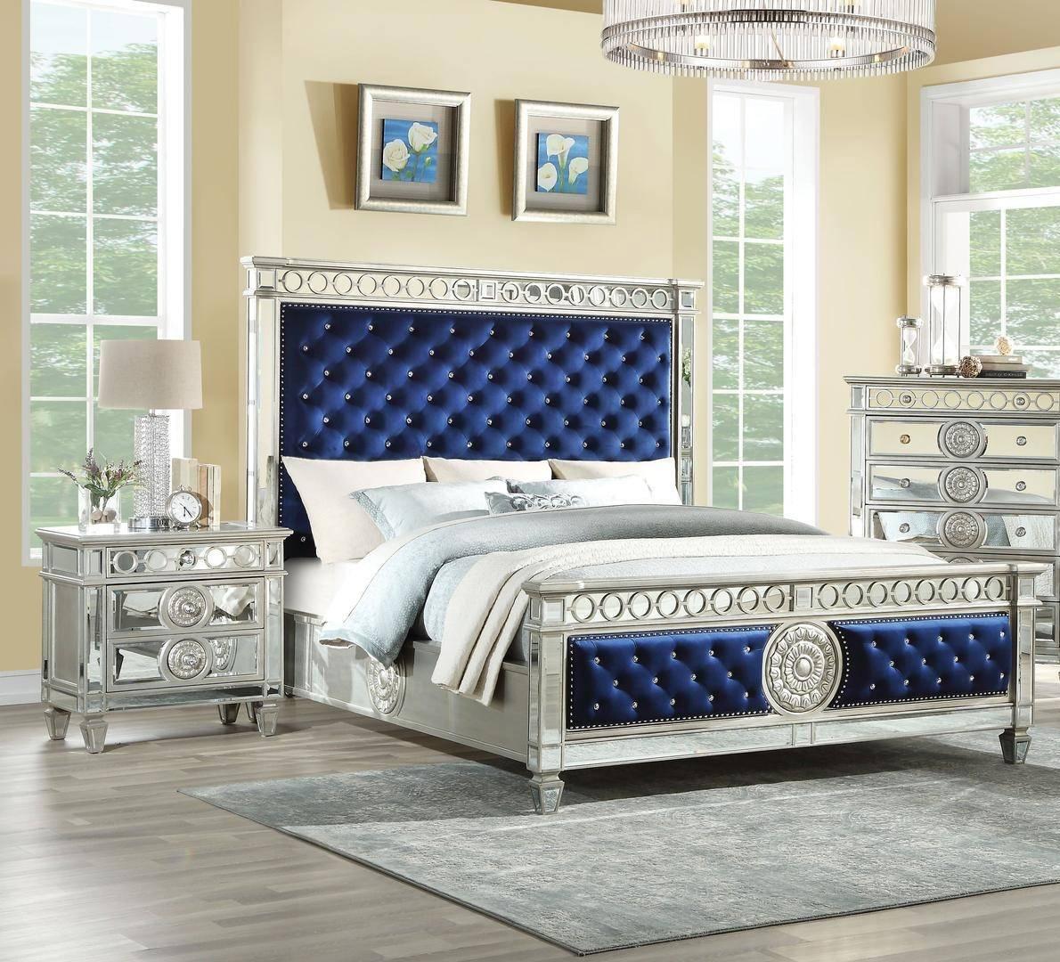Buy ACME Varian Queen Panel Bedroom Set 3 Pcs in Blue, Silver