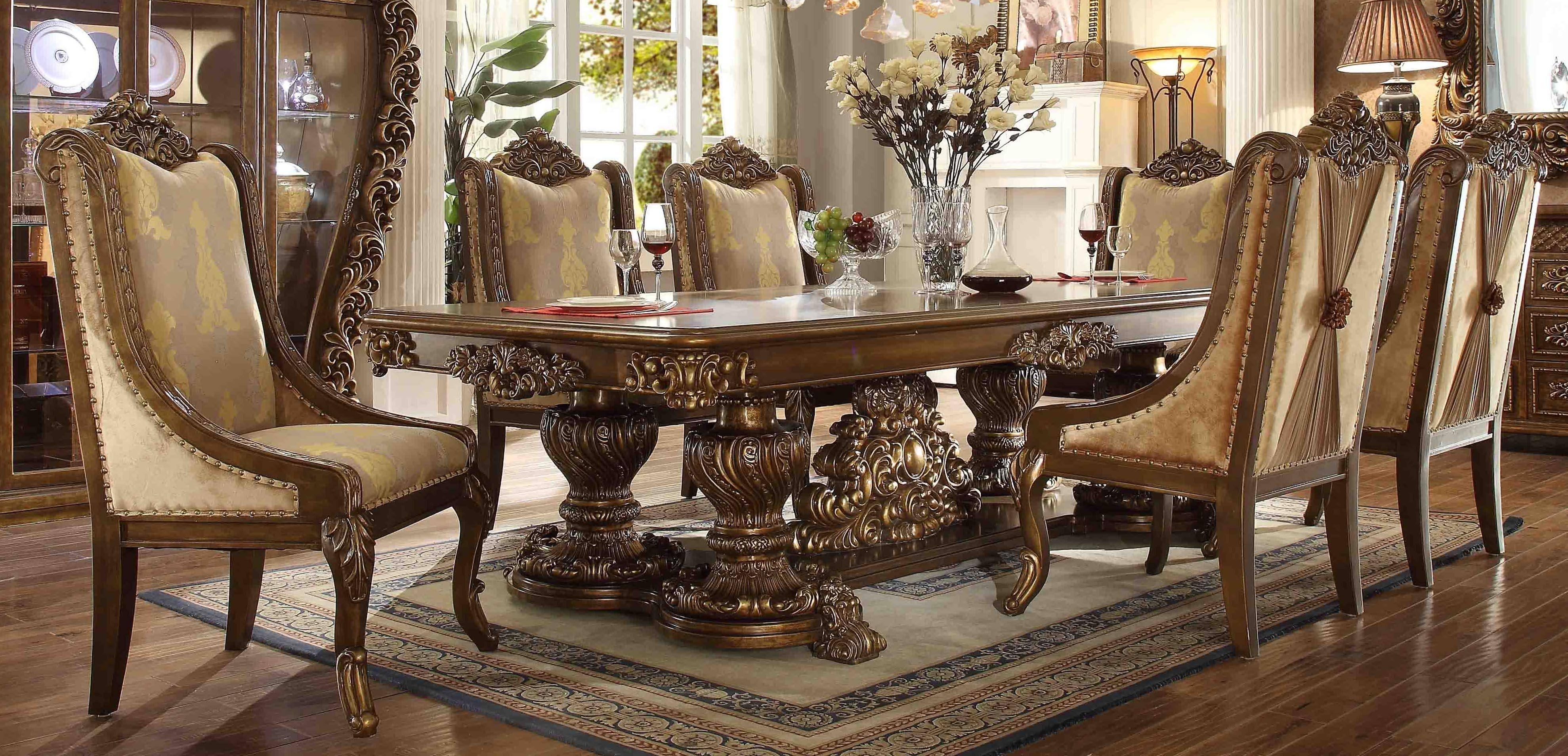 Buy Homey Design Hd 8011 Dining Table Set 7 Pcs In Walnut Cream Gold Finish Fabric Online