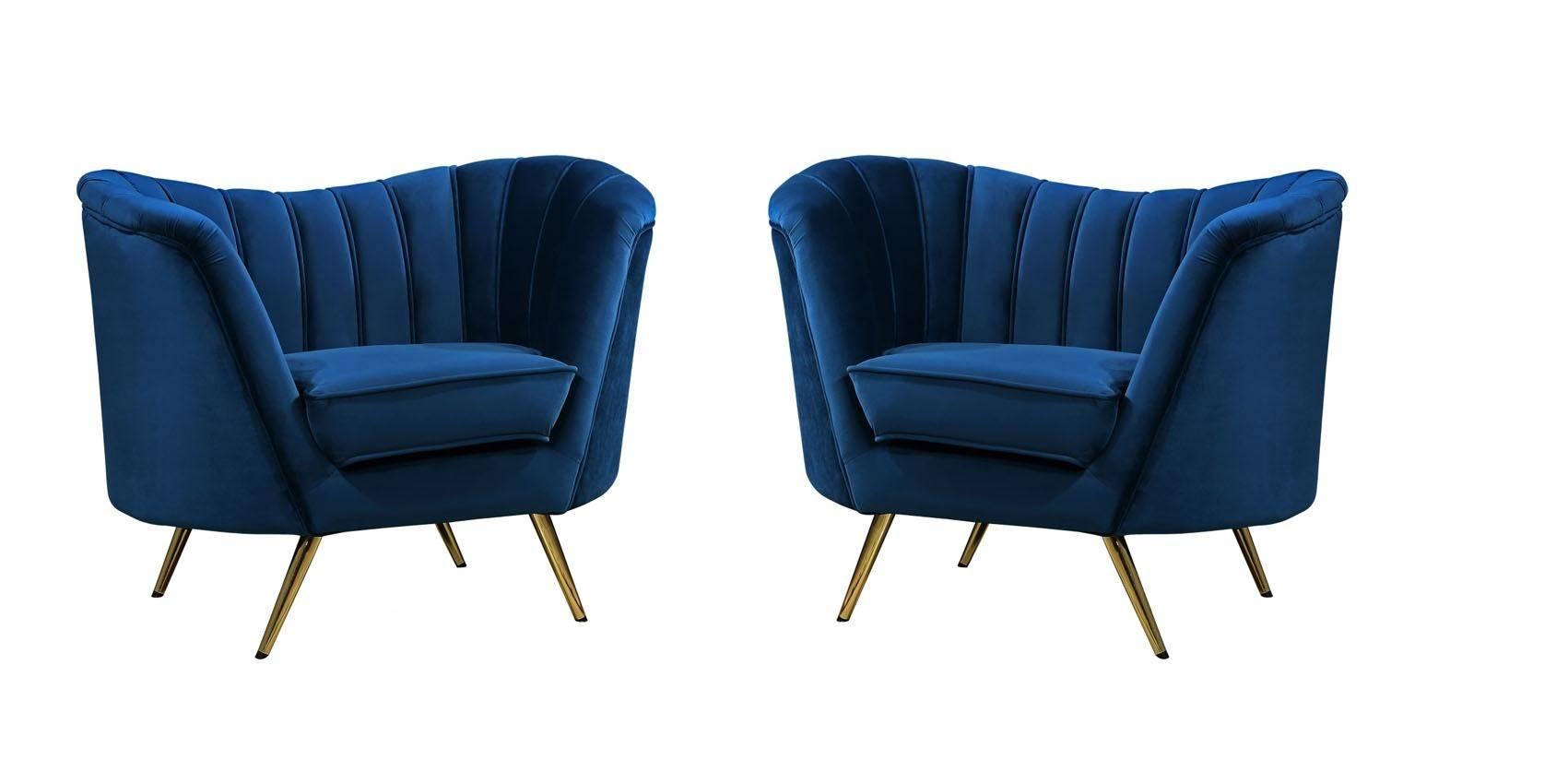 Picture of: Buy Meridian Margo 622 Accent Chair 2 Pcs In Navy Blue Velvet Online