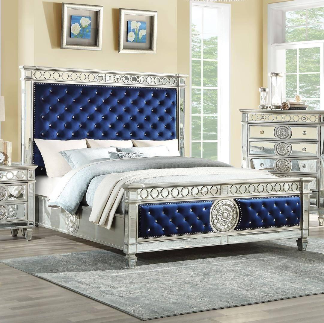Acme Varian King Platform Bedroom Set 5 Pcs In Blue Silver Mirrored Velvet