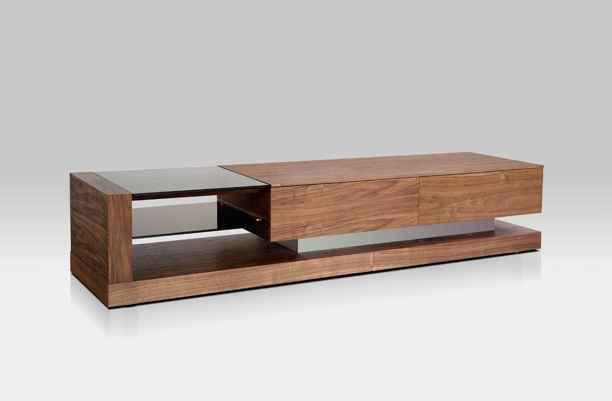 Buy Vig Modrest Mali Tv Stand In Walnut Glass Wood Veneers Online
