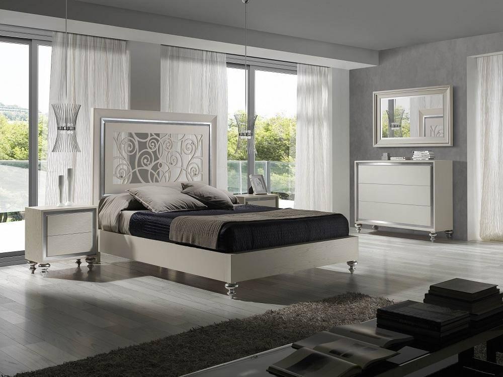 Buy J M Alba King Platform Bedroom Set 3 Pcs In White Metal Wood Veneers Online