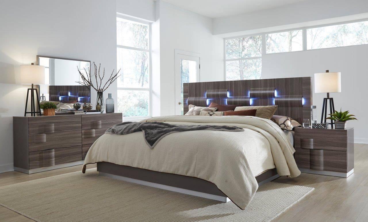 Buy Global Furniture Adel King Platform Bedroom Set 5 Pcs In Grayish Brown Veneers Online