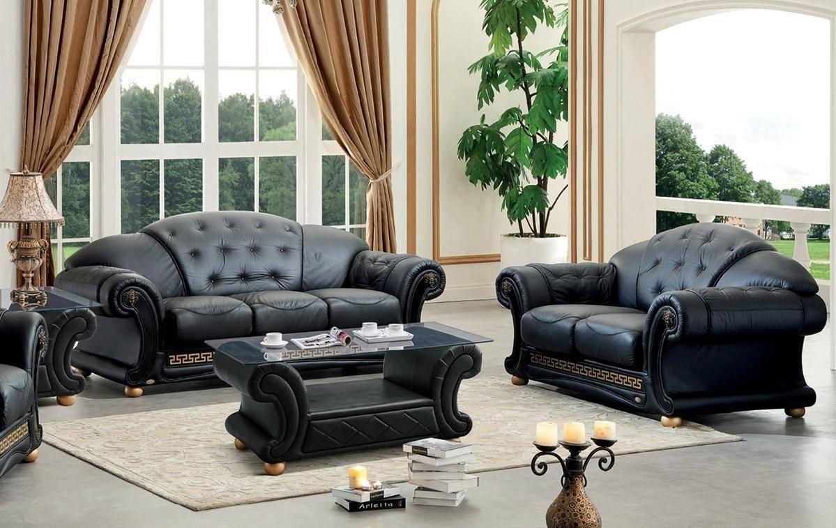 Remarkable Soflex V Cleopatra Sofa Loveseat 2 Pcs In Black Leather Uwap Interior Chair Design Uwaporg