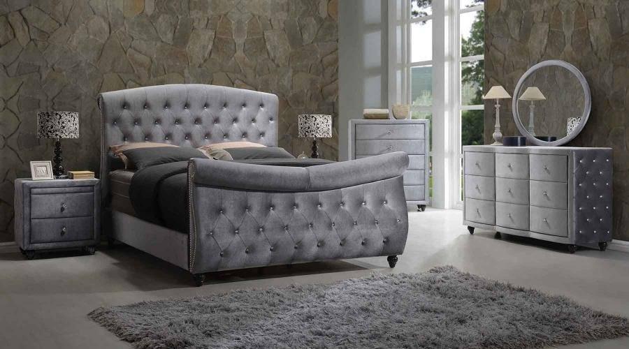 Buy Meridian Hudson King Sleigh Bedroom Set 5 Pcs In Gray Velvet Online