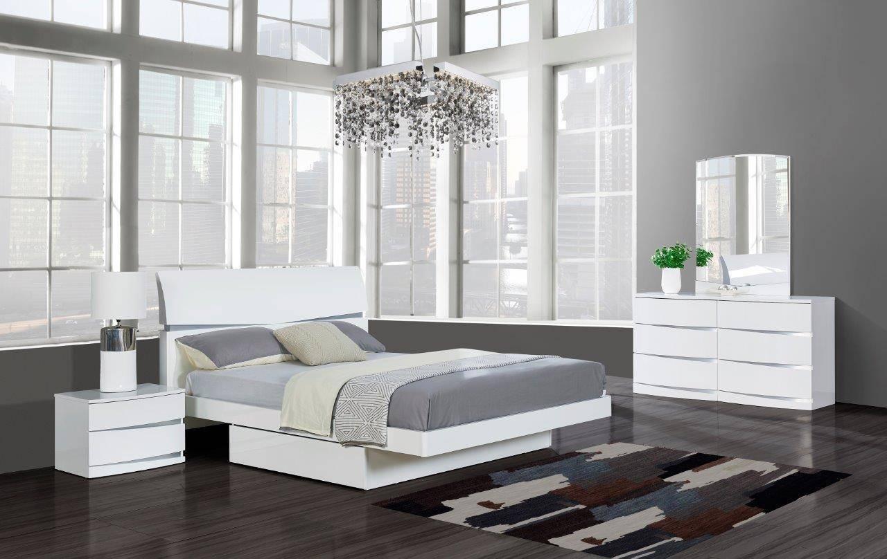Buy Global Furniture Aurora Wh King Platform Bedroom Set 3 Pcs In White Lacquer Online